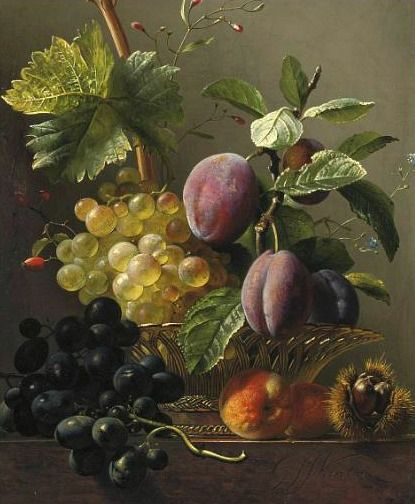 Georgius Jacobus Johannes van Os  'Grapes, Prunes, Peaches and a Chestnut'... 19th century