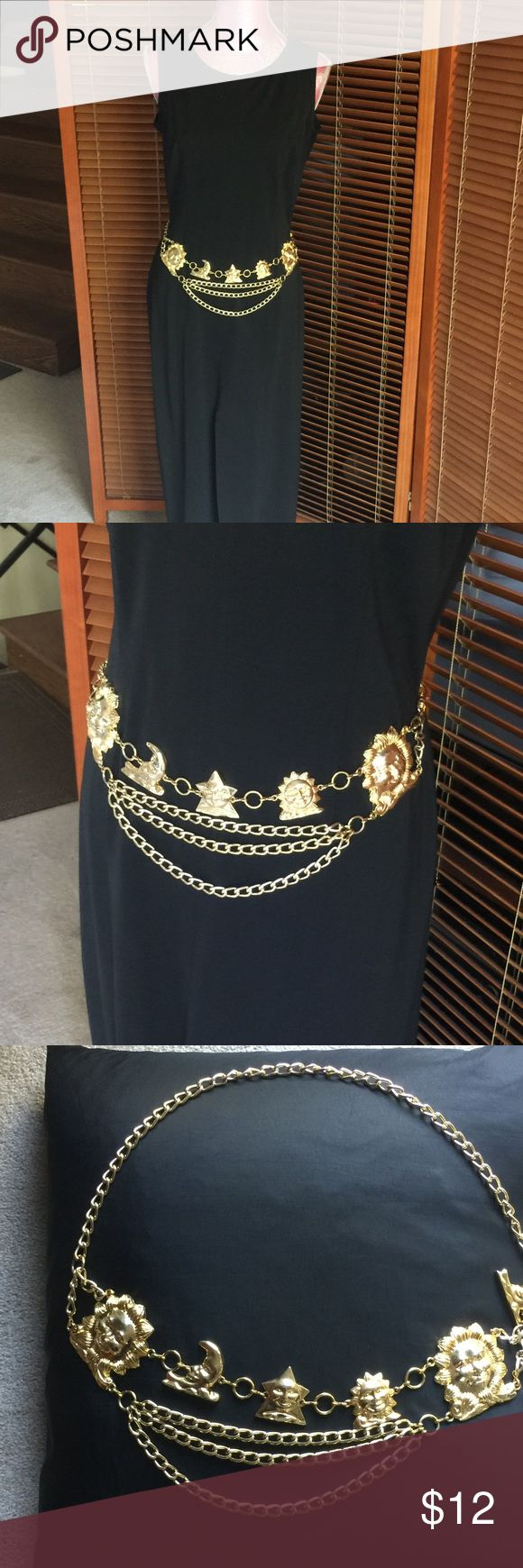 Gold tone chain belt VINTAGE chain belt adds sparkle and style to your favorite outfits. There's no stopping you when you have this secret weapon in your accessory arsenal.  Adjustable metal belt features smiling sun and moon faces and a lobster claw closure. PRICE IS FIRM!!!! Accessories Belts