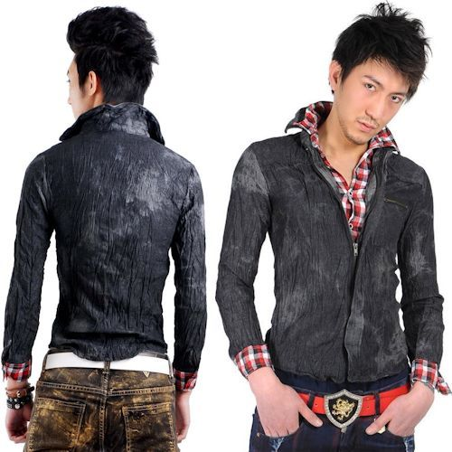 Unique Black Red Plaid Long Sleeve Slim Fit Punk Rock Casual Shirt Men SKU 11407238 Modern Vintage