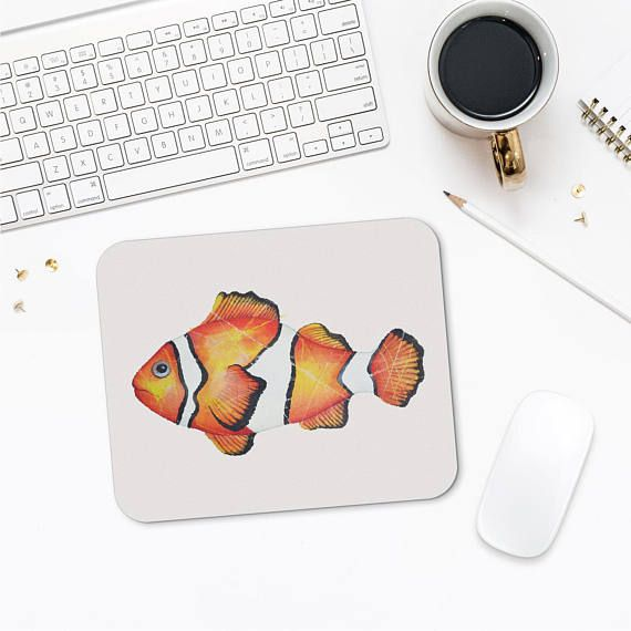 Clown Fish Mousepad Fish Illustration Fish Lover Gifts