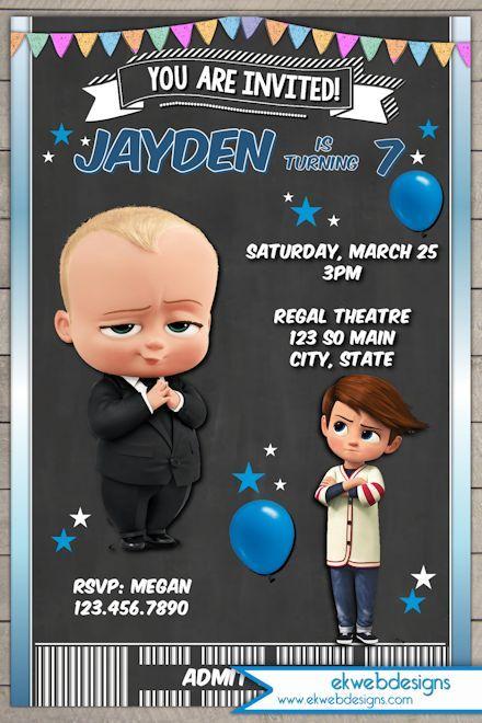 The Boss Baby Movie Birthday Invitation - Boss Baby Ticket Invitation