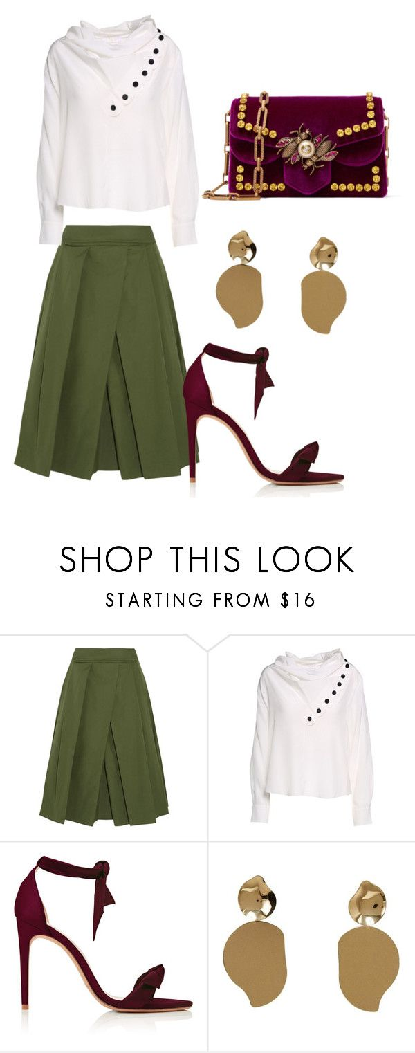 """Untitled #3214"" by thestylegosssip ❤ liked on Polyvore featuring Jil Sander, Chloé, Alexandre Birman, MANGO and Gucci"