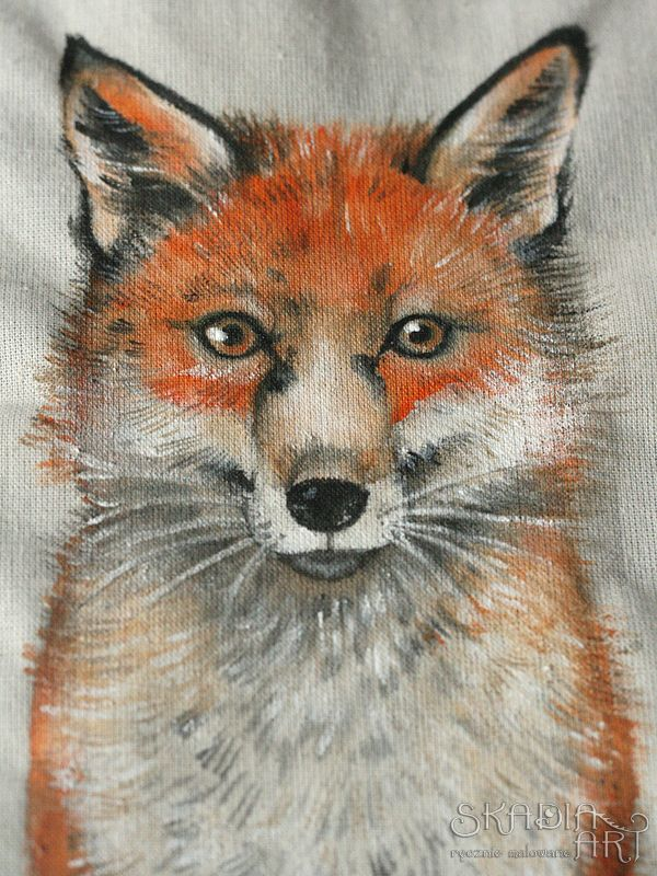 Cotton bag with a painted fox by Skadia Art