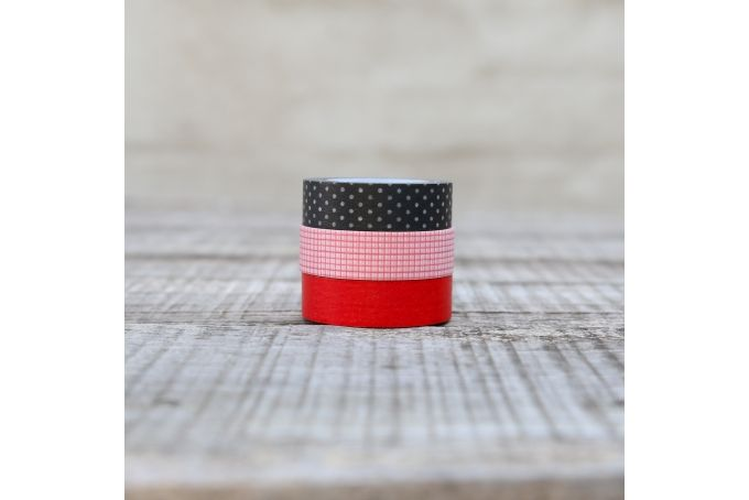 Washi Tape - Red Gingham, Black Polka-Dots & Red  - Pack of 3 by Besotted on hellopretty.co.za