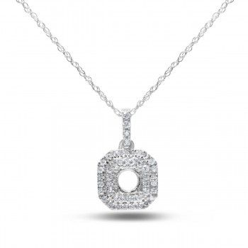 Halo Collection, 14k White Gold SI Diamond Semi-Mounting Pendant, 1/5 ctw - Halo Collection - Collections - by Samuels Jewelers