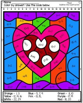 These math coloring sheets are perfect for addition and subtraction practice. Use them to reinforce addition and subtraction strategies. This resource includes 6 mixed addition and subtraction practice. 6 engaging Valentine scenes for your students to solve and Color