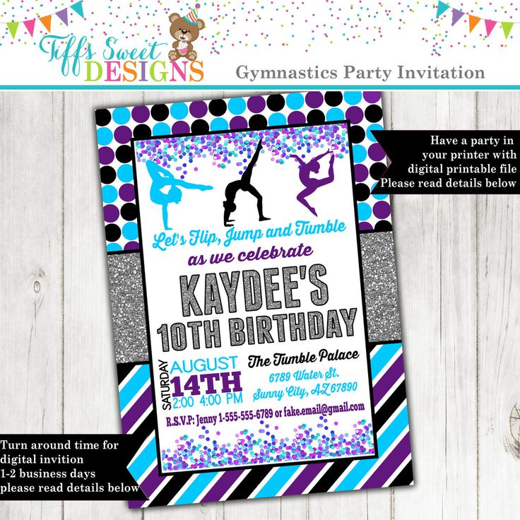 12 best girl birthday party invitations images on pinterest girl purple and turquise gymnastics invitation gymnast birthday party acrobat invite printable stopboris Choice Image