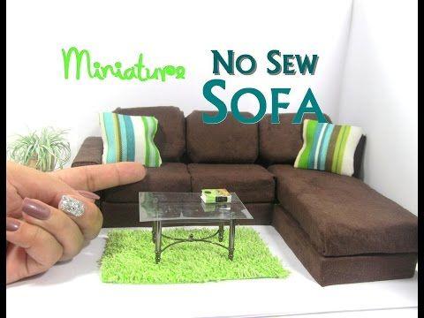 DIY No Sew Modern Sectional Sofa Chaise Lounge Dollhouse Furniture Miniature Furniture - YouTube