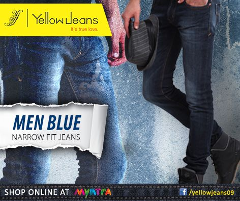 This festive Look you best with our Narrow fit Blue jeans..Get your hands on this blue pair of perfection and let the Celebrations go on..  Order it online http://bit.ly/YellowJblue