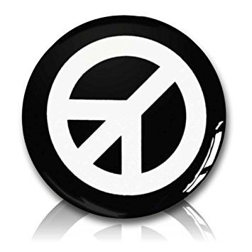 "Custom & Novelty {1"" Inch} 1 Single Piece, Small Size Button Pin-Back Badge for Unique Clothing Accents, Made of Rust-Proof Metal w/ CND Campaign For Nuclear Disarmament Peace Sign Symbol Style [White & Black]"