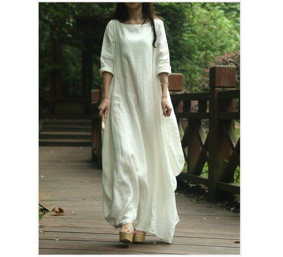 65b6e928df Womens Loose Fitting Long Sleeve Cotton Linen Long Dresses, Maxi ...