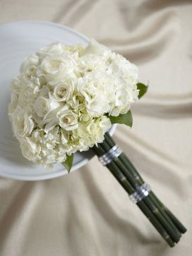 White roses, sray roses, carnations and hydrangeas - LOVE LOVE LOVE (plus a blue hydrangea from Grandma)