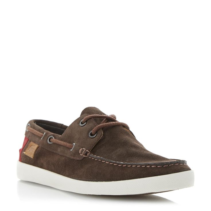 LACOSTE MENS KEELLSON - Suede Boat Shoe - brown | Dune Shoes Online