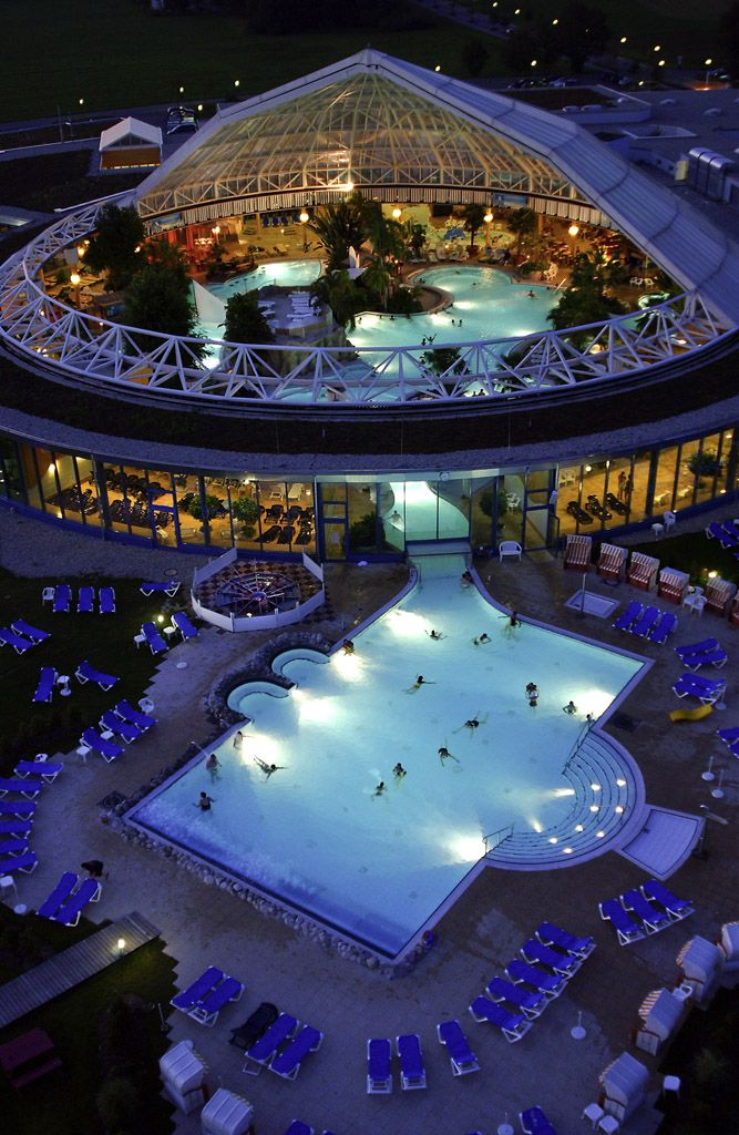 Can you name this site in Munich? #Germany ~ Someone just did.  ... This is the Therme in Erding near Munich.  It is a gigantic thermal world and offers not only the longest European slide, but also the largest sauna paradise in the world.  It is also the biggest thermal water world in Europe on thousands of square meters.  Thanks annette!