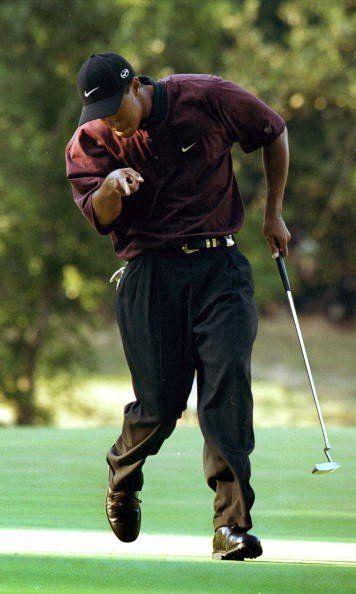 Tiger Woods at the PGA Championship, chasing down Bob May
