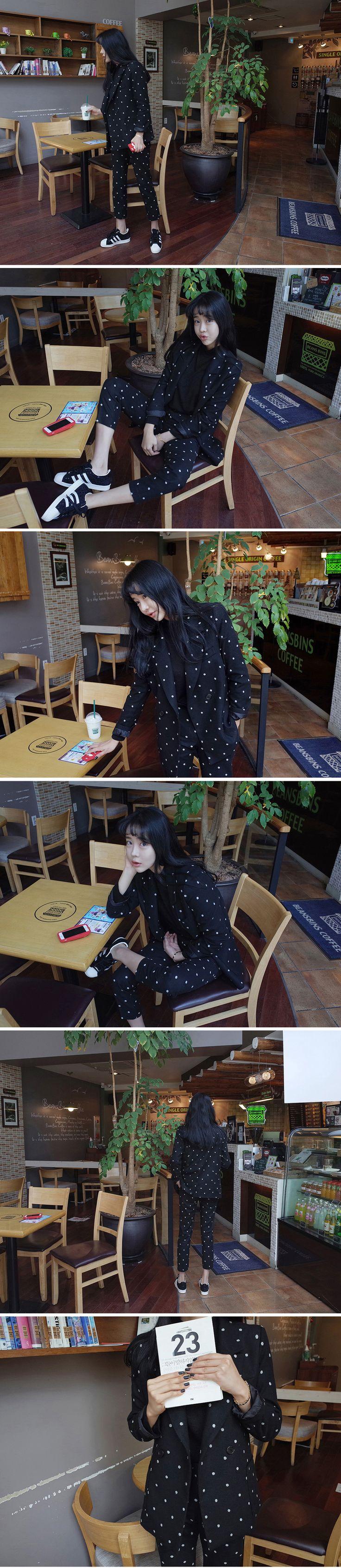 Осень и зима специальная вышивка горошек пиджаки мода шерстяной костюм девятый…