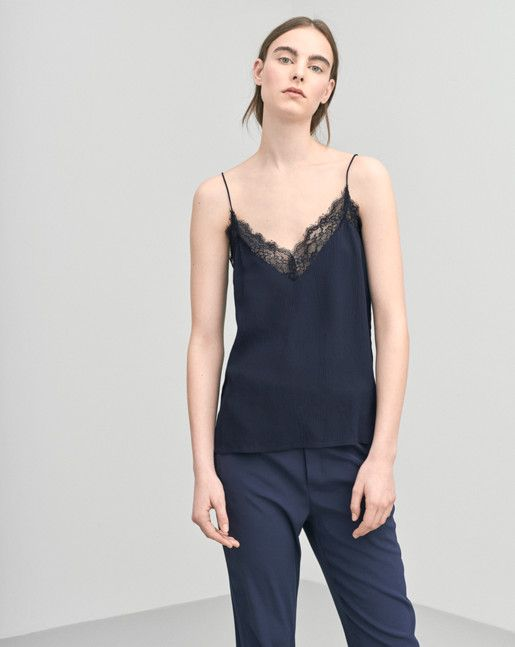 Silk Lace Strap Top Navy