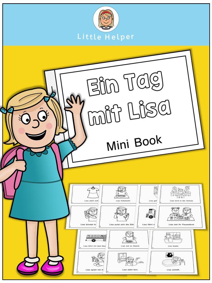 Tägliche Routine. Kleines Lese- und Übungsheft zum Ausdrucken mit Vokabelkarten.
