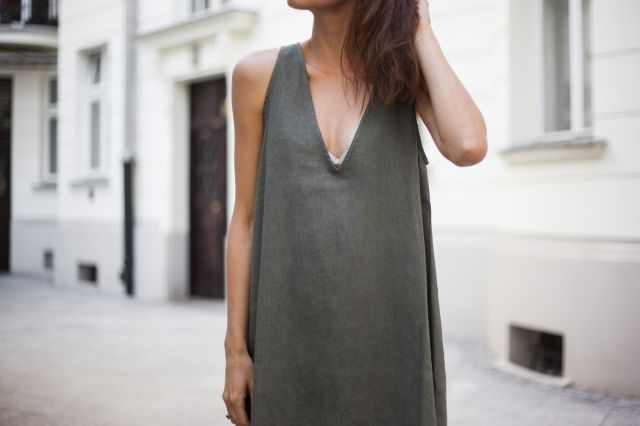 LINEN DRESS WITH V-NECK | Khaki goes great with a tan! Get your beautiful summer dress and other basics @ theodderside.com