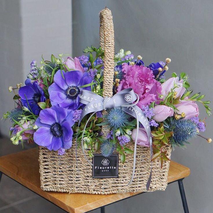 """""""#flowerbasket#꽃바구니#아네모네 . . 블루와 퍼플의 만남  . .…"""""""