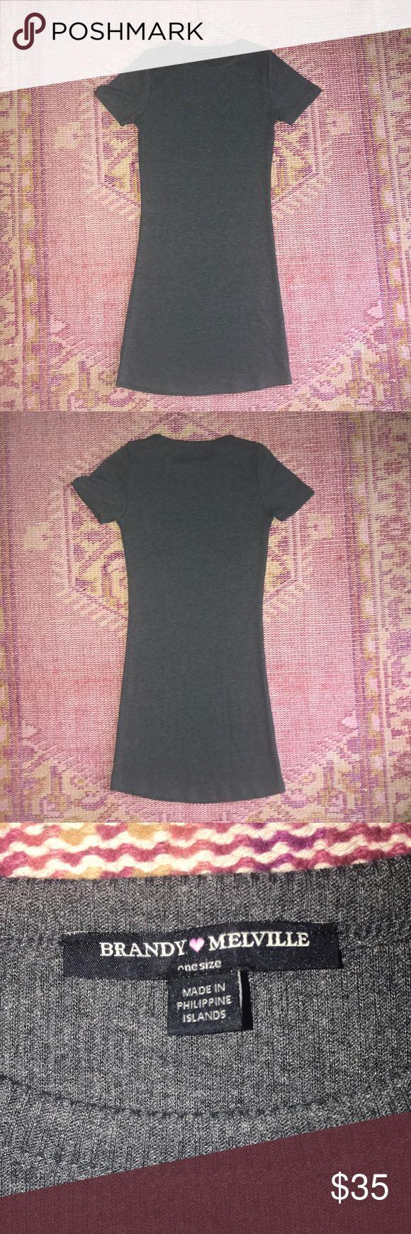 Grey bodycon dress Brandy Melville grey (thick-nice material) bodycon dress✨ NEW- never worn Brandy Melville Dresses Mini