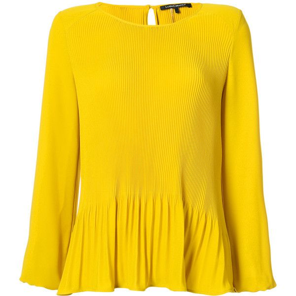 Luisa Cerano long-sleeve pleated blouse (760 TND) ❤ liked on Polyvore featuring tops, blouses, yellow blouse, pleated blouse, long sleeve blouse, ruffle hem top and yellow long sleeve top