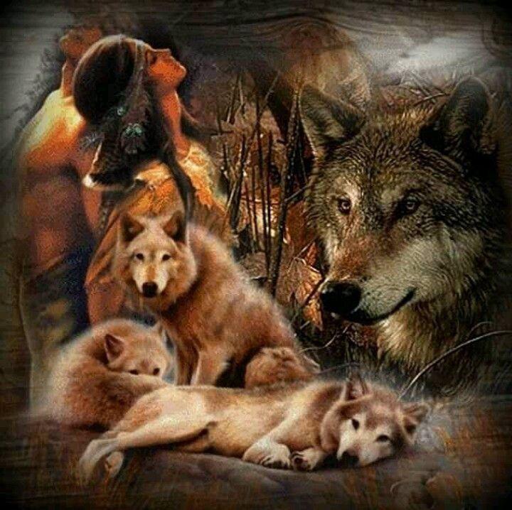 Indianenvrouw met wolven