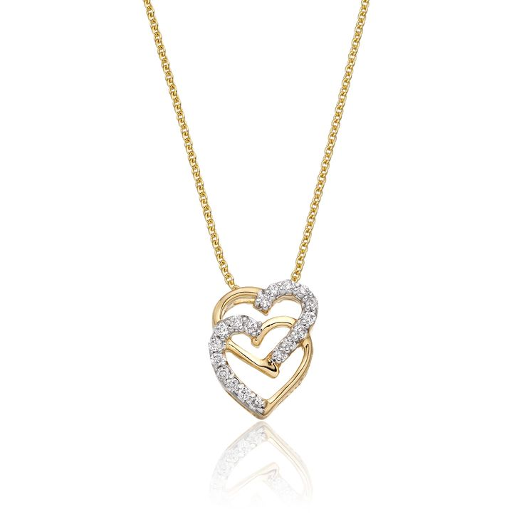 This elegant yellow gold diamond pendant has 0.07ct diamonds. The pendant features two interlocking hearts designed to give a beautiful contrasting finish. Each of the 2 hearts are part polished and part encrusted with round brilliant cut diamonds. This necklace is made in 9K yellow gold and is available complete with a beautiful mirror trace chain or if you already have a chain then you have the option to buy just the pendant.