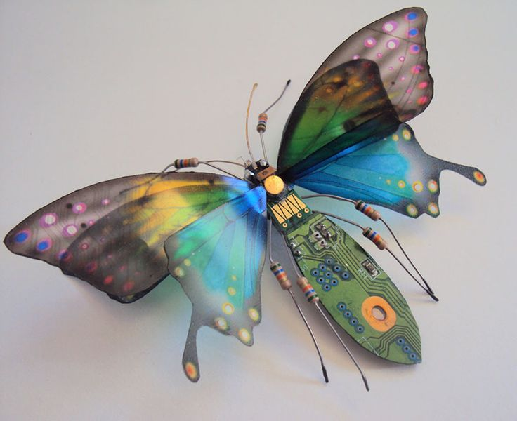 Winged Insects Made from Old Computer Circuit Boards and Electronics by Julie Alice Chappell