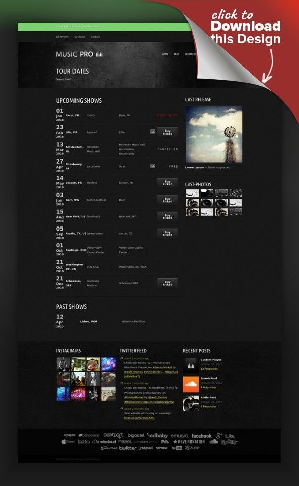 Music Pro - Music Oriented WordPress Theme band, dark, filterable portfolio, full width slider, grunge, label, mp3 player, music, piecemaker slider, post format, theme options, unlimited sidebars, webzine, widgetized homepage Music Pro is a music oriented wordpress theme, perfect for a band, a label, or a webzine. It is fully customizable, easy to use and well documented. It can be used for any other purpose as well. It is ...
