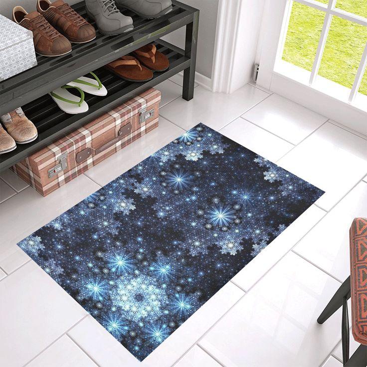 "Wintery Blue Snowflake Pattern Azalea Doormat 30"" x 18"" l Available in 4 sizes."