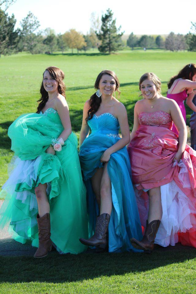yea we wore boots with our prom dresses prom