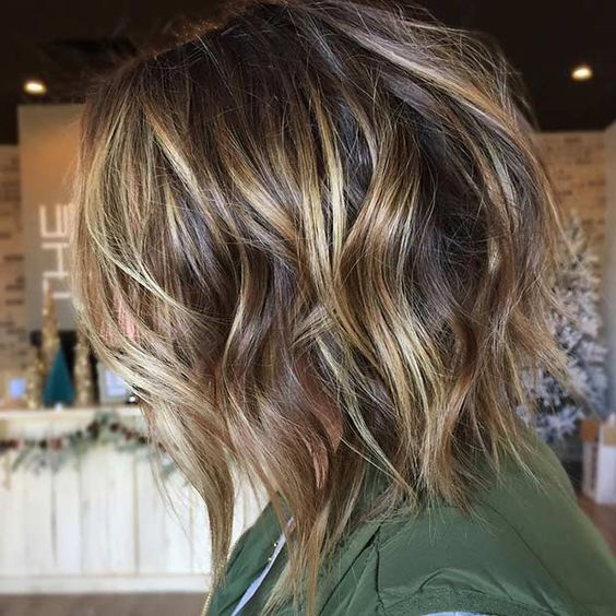 Brown Textured Bob with Gold Balayage Highlights