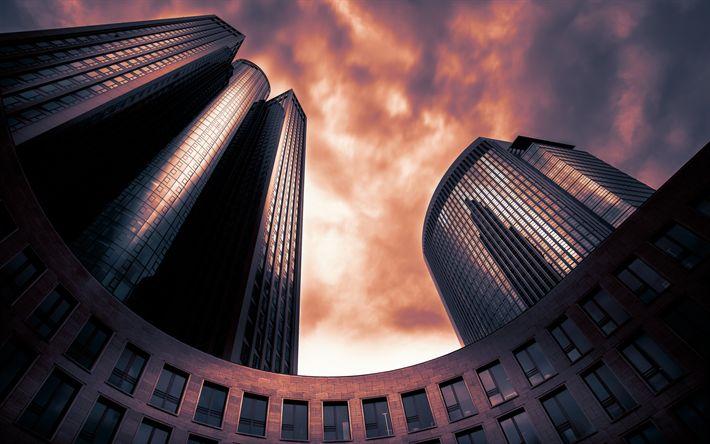 Lataa kuva Frankfurt am Main, Tower 185, sunset, pilvenpiirtäjiä, moderni arkkitehtuuri, Saksa