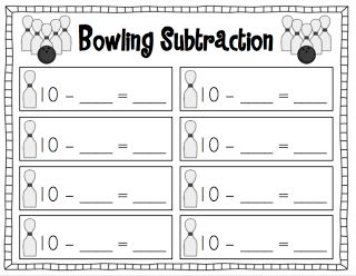 Once I introduce the game in whole group, it will be perfect for independent practice at math centers. If you have a mini bowling set, you can use the work mat to set the pins up on. Otherwise, you could just use a regular bowling set or even paper cups!