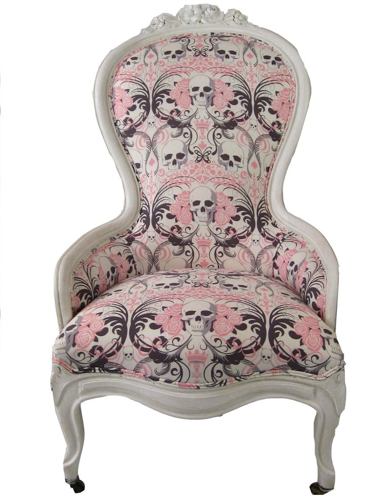 Great fabric choice on this traditional chair - would make a fabulous addition to gothic inspired space without being too heavily stylized but adding a playful element of authenticity