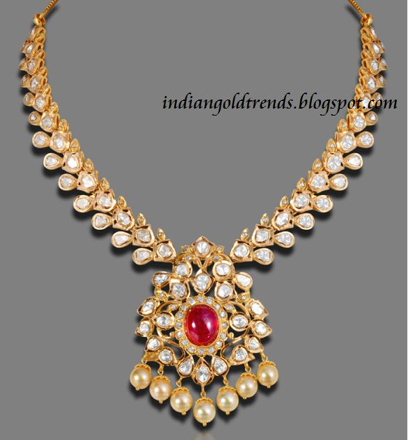 Latest Indian Gold and Diamond Jewellery Designs: Latest Polki Diamond Necklace