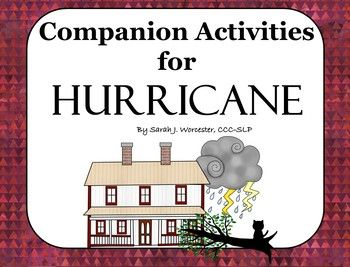 A hurricane is coming, and a family must prepare to hunker down. It is both a scary and magical few days. My students love the story and pictures of Hurricane, by David Wiesner. I love using books for Speech therapy. I take the time to make activities that will serve both language and articulation objectives, and can easily be used for