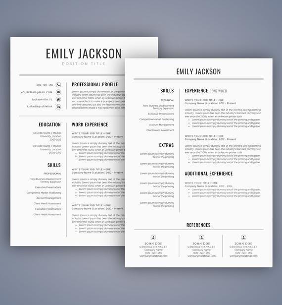 Resume Template Cv Template Professional Resume Template Resume Template Word Creative Resume Desain Cv Desain