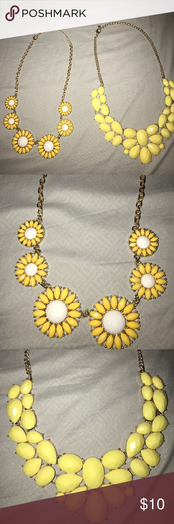 Necklaces • Yellow Statement Necklaces  • Gold Hardware  • Solid yellow worn a lot more than yellow and white Forever 21 Jewelry Necklaces