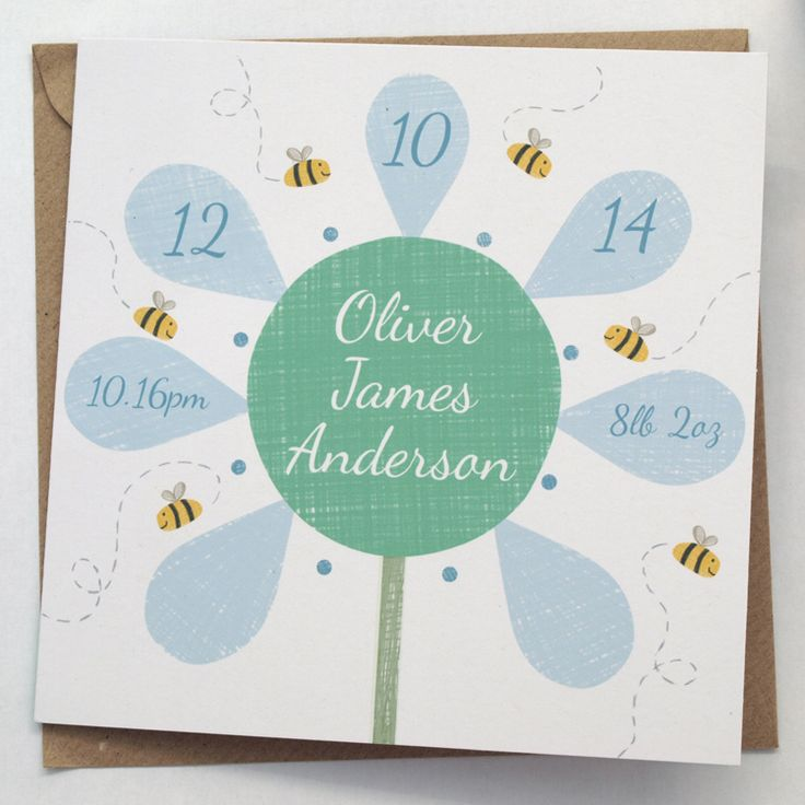 New Baby Flower Card - by Doodlebump