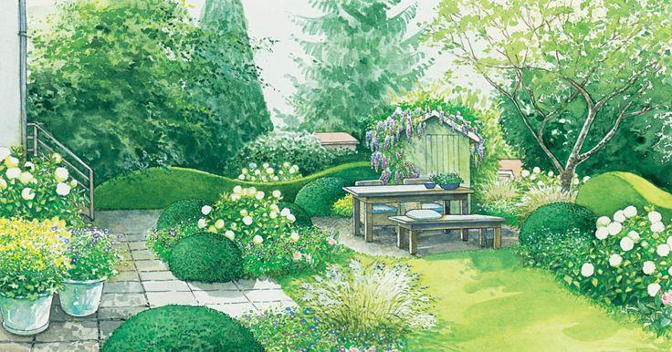 Ein Garten mit Spielwiese und Schaukel bekommt neue Beete und einen  gemütlichen Sitzplatz. Zwei Gestaltungsideen mit Pflanzplänen zum  Herunterladen und  Nachpflanzen.