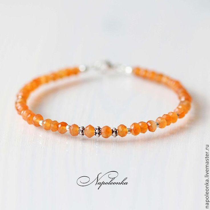 Купить Браслет из сердолика и серебра 925 пробы - рыжий, браслет, браслет из камней, браслет с камнями http://napoleonka.ru/