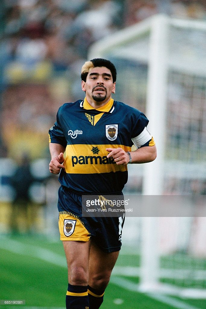 Diego Maradona playing for Boca Junior during the 1995-1996 season.