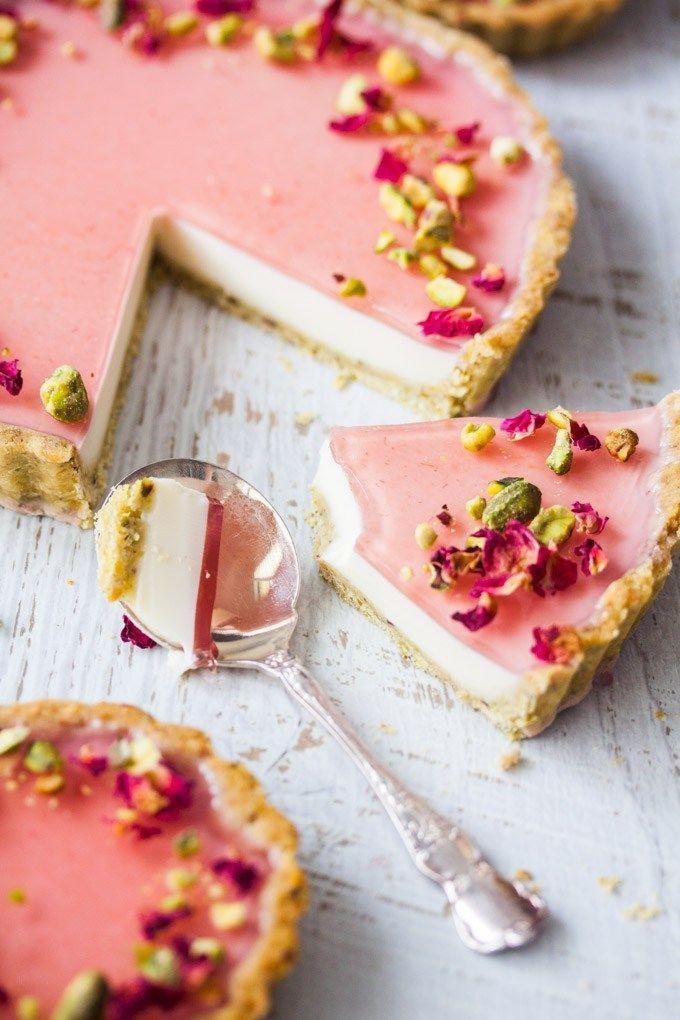 Pistachio Panna cotta tart , dessert recipe for a dinner party or posh family Su…