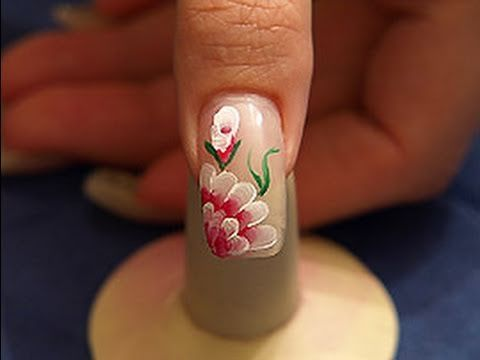 Flower motif with acrylics and flat brush