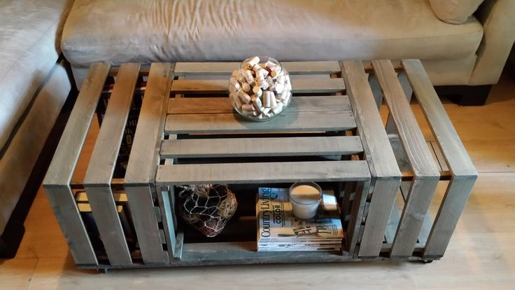 Rolling Rectangle Wood Crate Coffee Table