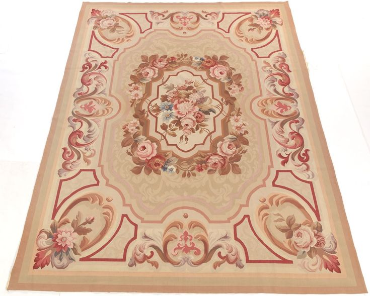 Tapis Aubusson 20th Century 121 2 x 811 1 4 Terre Et Rose Tonique Floral Laine