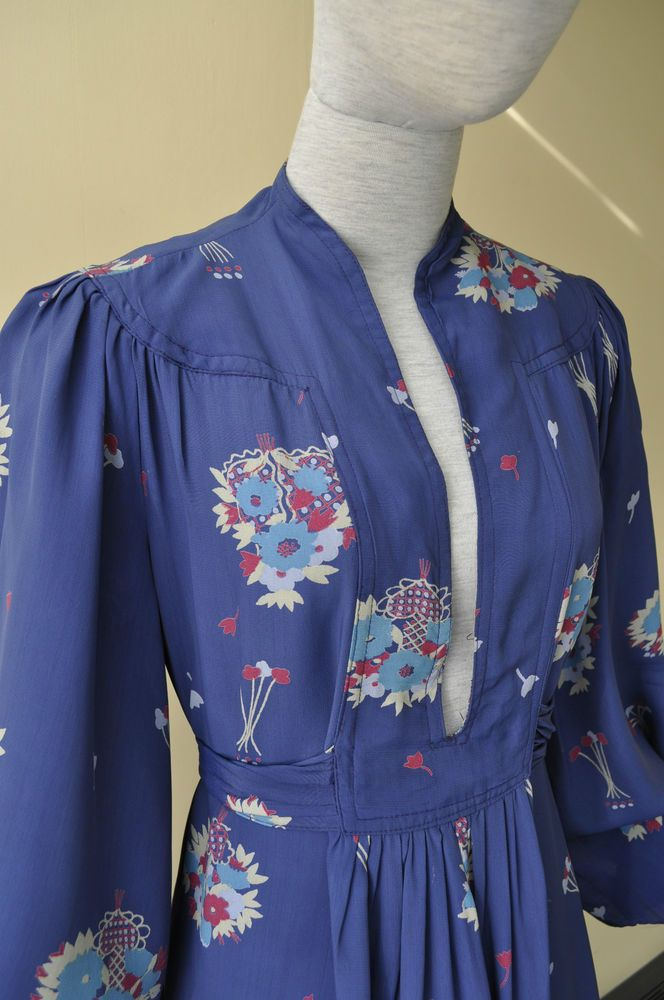 True vintage fabulous plunge front Ossie Clark dress with Celia Birtwell print