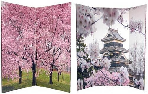 Folding Room Dividers :: 6 ft. Tall Double Sided Cherry Blossoms Room Divider